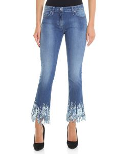 Blumarine - Light blue bootcut jeans with micro sequins