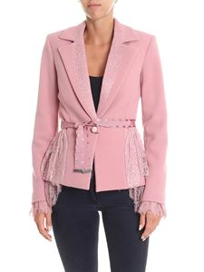Blumarine - Pink flared jacket with lace inserts