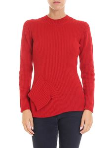 Y's Yohji Yamamoto - Red ribbed fabric crew neck pullover
