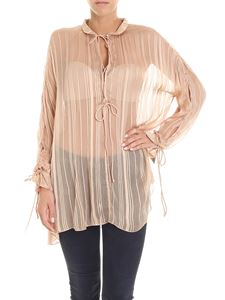 Iro - Nude color blouse with silver lamé thread inserts