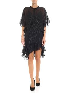 Iro - Black silk voile dress with black lamé embroidery