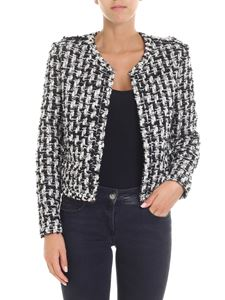 Iro - Black and white tweed jacket with pearly inserts