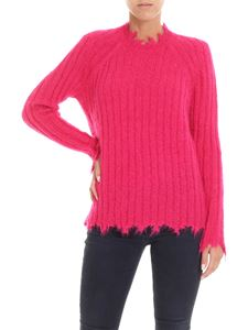 Iro - Fuchsia pullover with worn effect edges