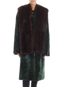 Sofie D'Hoore - Green shearling coat with brown fox fur insert