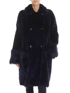 Desa 1972 - Blue shearling long coat with alpaca inserts