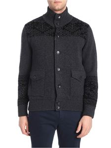 Etro - Dark grey cardigan with jacquard insert