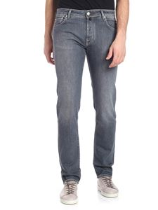 Jacob Cohën - Grey jeans with brown logo insert