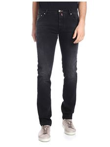 Jacob Cohën - Black 5 pocket jeans with calfhair logo label