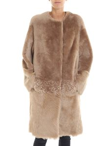 Desa 1972 - Beige shearling coat with alpaca insert