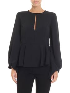 KI6? Who are you? - Black blouse with a drop-shaped collar