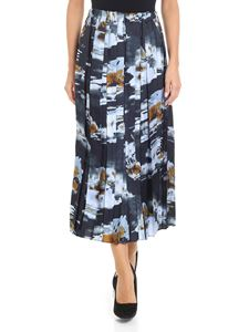 Jucca - Pleated skirt in shades of blue and brown