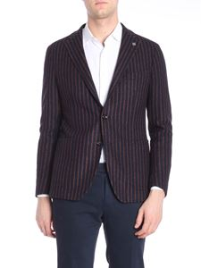 Tagliatore - Blue and brown striped jacket