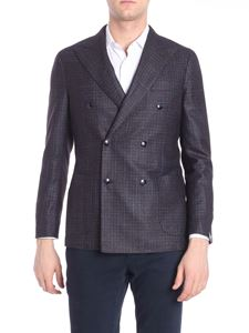 Barba - Blue and brown checked double-breasted jacket