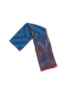 Etro - Light blue and fuchsia Delhy scarf with multicolor prints