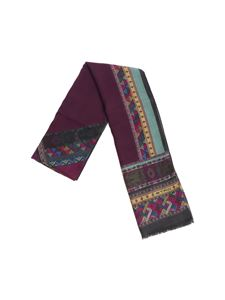 Etro - Shaal-Nur purple and anthracite scarf with multicolor prints