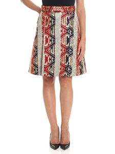Gucci - Striped skirt with golden thread embroidery