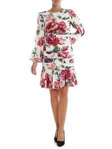 Dolce & Gabbana - Peonies printed draped dress