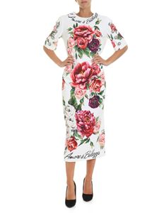 Dolce & Gabbana - White sheath dress with peonies print