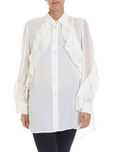 Givenchy - Ivory color shirt with pleated details