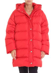 MSGM - Red down jacket with logo print on the hood
