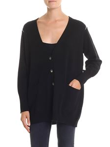 Fabiana Filippi - Black cardigan with microbeaded inserts