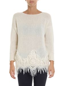 Ermanno Scervino - Ecrù color knitted sweater with macramé insert