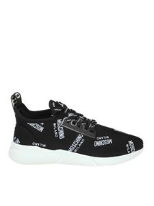 Moschino - Black technical fabric sneakers with logo
