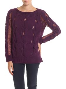 Blumarine - Purple knitted pullover with lace details