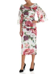 Dolce & Gabbana - Draped dress with peonies print