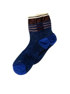 Fendi - Blue socks with lurex thread