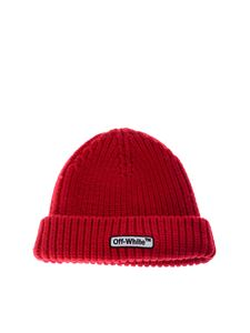 Off-White - Red branded beanie