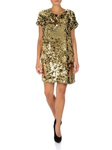 MSGM - Golden sequined dress with logo