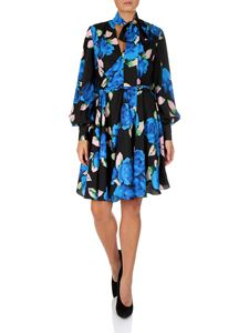 MSGM - Black and blue floral technical fabric dress