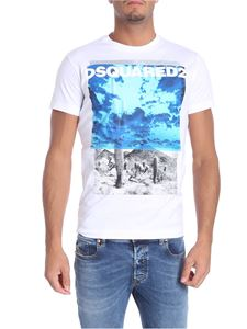 Dsquared2 - White t-shirt with blue print