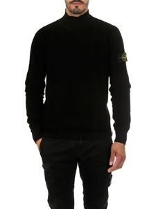 Stone Island - Black sweater with stand up collar
