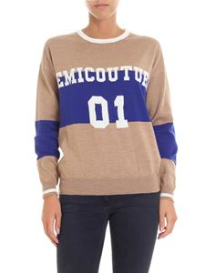 Semicouture - Beige boxy pullover with blue and white embroidery