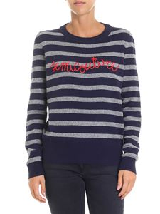 Semicouture - Blue and gray pullover with red logo embroidery