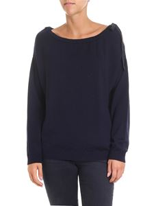 Semicouture - Blue sweater with cut-out on the shoulder