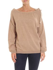 Semicouture - Beige sweater with cut-out on the shoulder