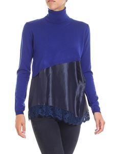 Semicouture - Blue turtleneck with blue viscose insert