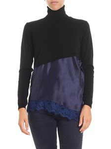 Semicouture - Black turtleneck with blue insert