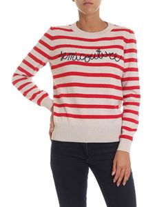 Semicouture - Beige pullover with red stripes