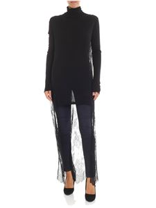 Semicouture - Black jersey and lace turtleneck