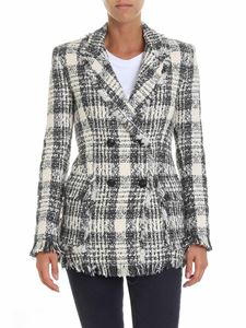 MSGM - White and gray bouclé jacket