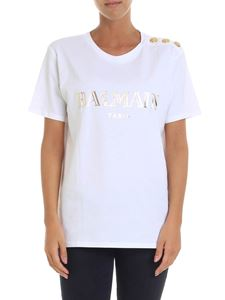 Balmain - White t-shirt with golden logo print