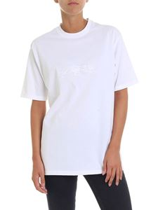Krizia - White t-shirt with logo embroidery
