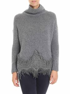 Ermanno Scervino - Gray knitted sweater with macramé insert