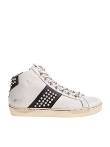 Leather Crown - White sneakers with studs