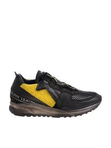 Leather Crown - Black and yellow sneakers with logo