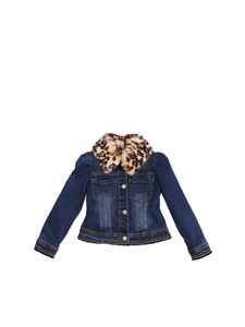 Monnalisa - Denim jacket with eco-fur insert
